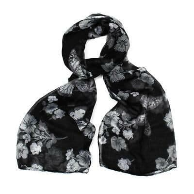 F & J Collection Floral and Butterfly Design Scalf  In Black- Poppy Accessories